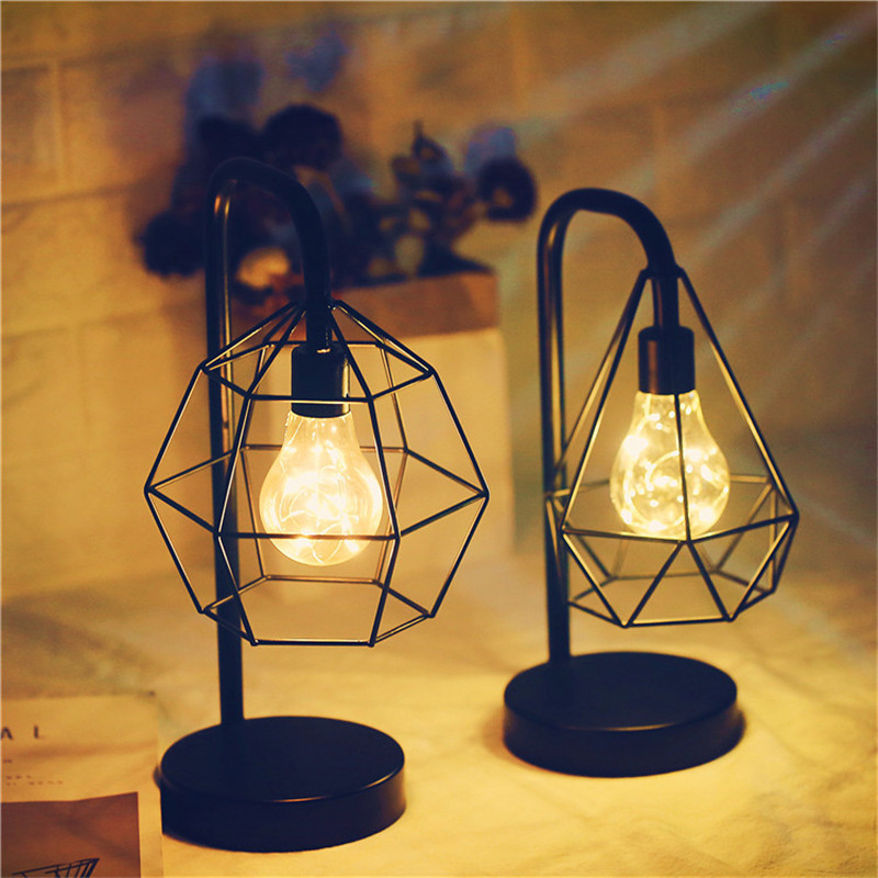 Iron Table Lamp Battery Powered Bedside LED Night Light Living Room Bedroom Decoration