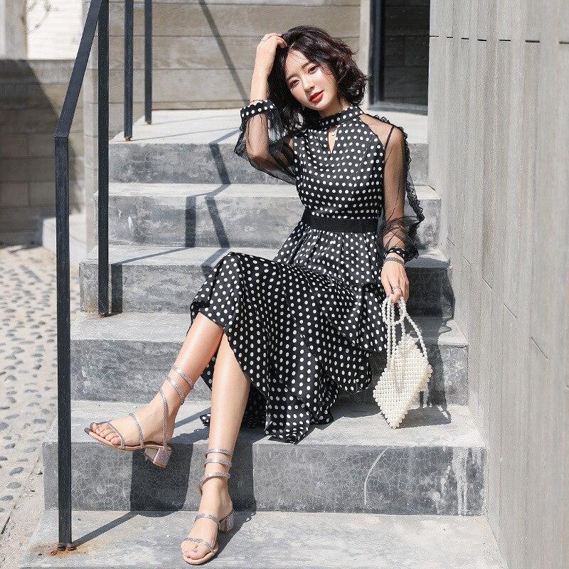 แฟชั่นชุดชีฟองใหม่โปร่งใสเสื้อแขนยาว polka dot ชุดสุภาพสตรี elegant temperament ยาวชุด-ใน ชุดเดรส จาก เสื้อผ้าสตรี บน   2