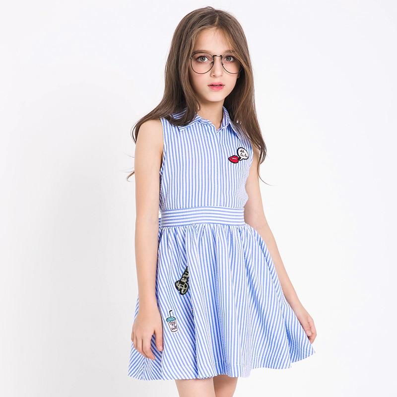 Meninas adolescentes vestidos de verão estilo sem mangas vestido listra para meninas roupas adolescentes vestido de verão crianças roupas criança 7 8 10 12 13 14y