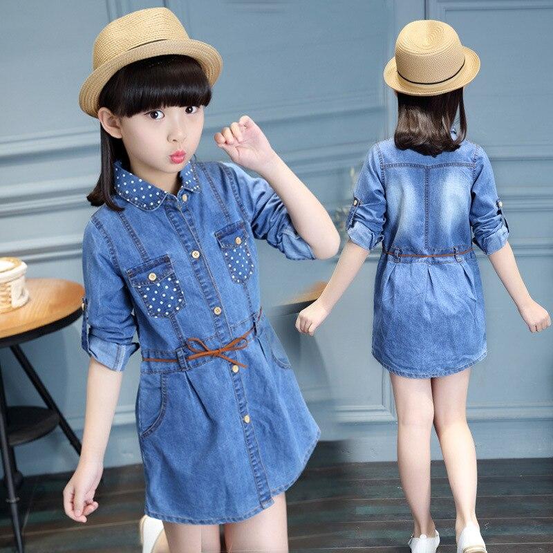 Teenage Kids Dresses For Girls Blouses Polka Dot Denim Dress Shirtdress Long Sleeve Children Shirts 4 5 7 9 11 13 14 Years