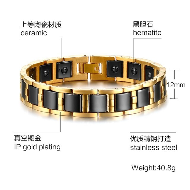 Hot Sales Stainless steel Black stone health bracelet jewelry bracelets bangles bracelets for women Men bracelets