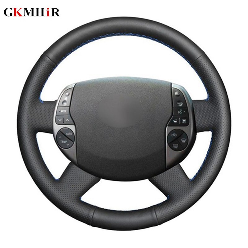 Black Steering Cover Genuine Leather Car Steering Wheel Cover for <font><b>Toyota</b></font> Prius <font><b>20</b></font>(XW20) 2004 2005 2006 2007 2008 2009 image