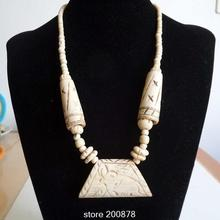 TNL500 Nepal Tibetana Yak hueso tallado Collar de Elefante Indio collar de moda Beige Cadena Ósea
