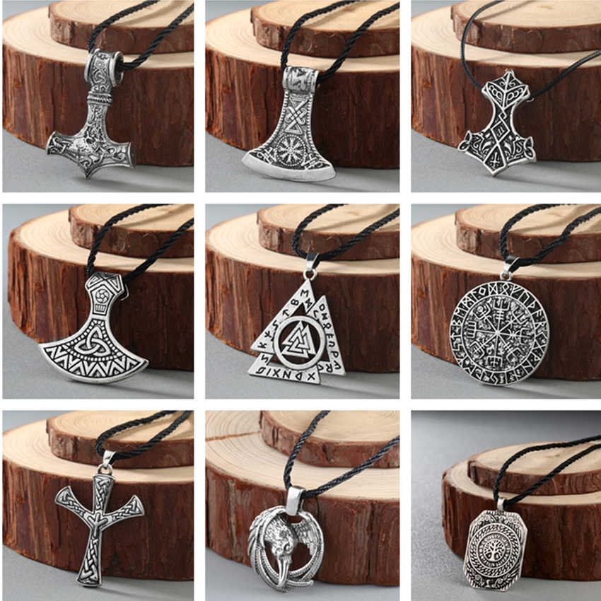 Cxwind Vintage Viking Thor Hammer Necklace Pendant Thor's Hammer Pendants Compas Raven Knot Necklaces Jewelry for Women Men Gift