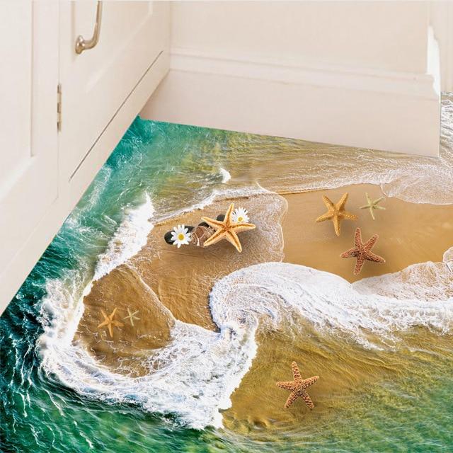 49 Beautiful Beach And Sea Themed Bedroom Designs: Beautiful Waves Swirl Stickers Diy Home Decor 3d Beach
