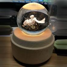 Crystal Ball Wooden Luminous Music Box Rotary Innovative Birthday Gift Hand Crank Mechanism christmas #