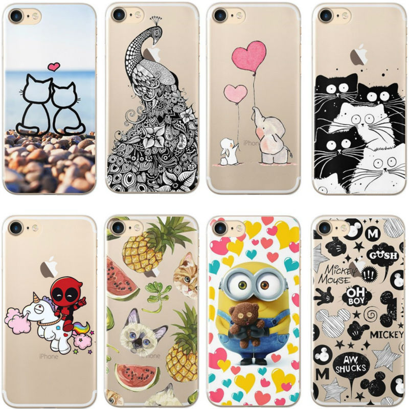 Cute Cartoon Animal Cat Case For iphone X 5 5S SE 6 6S 7 8 Plus Transparent Silicone Phone Back Cover Coque