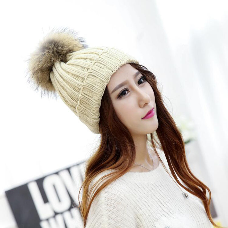 mink and fox fur ball cap pom poms winter hat for women girl 's hat knitted beanies cap brand new thick female Skullies cap 4pcs new for ball uff bes m18mg noc80b s04g