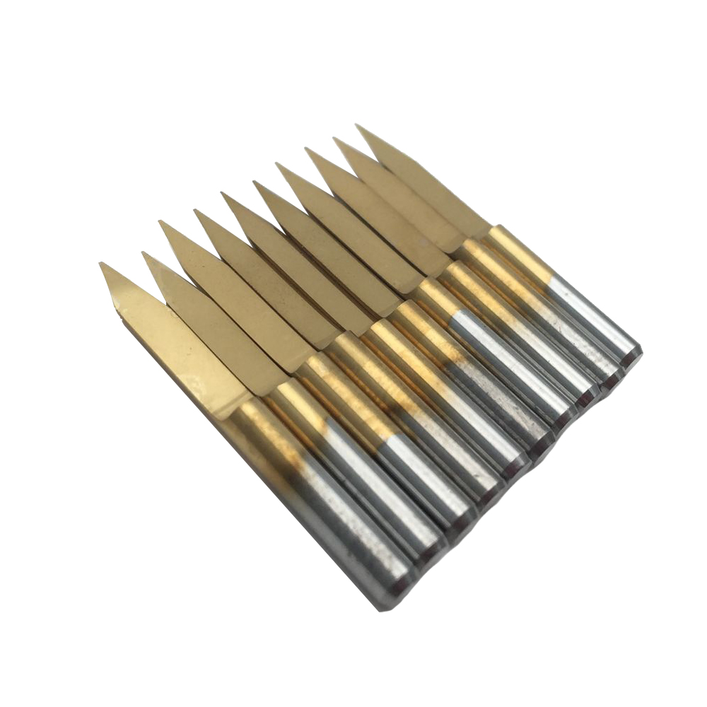 10PcsSet 3.175mm Titanium Coated Engraving CNC Bit Router Carving Tool 30Degree Tip 0.2mm