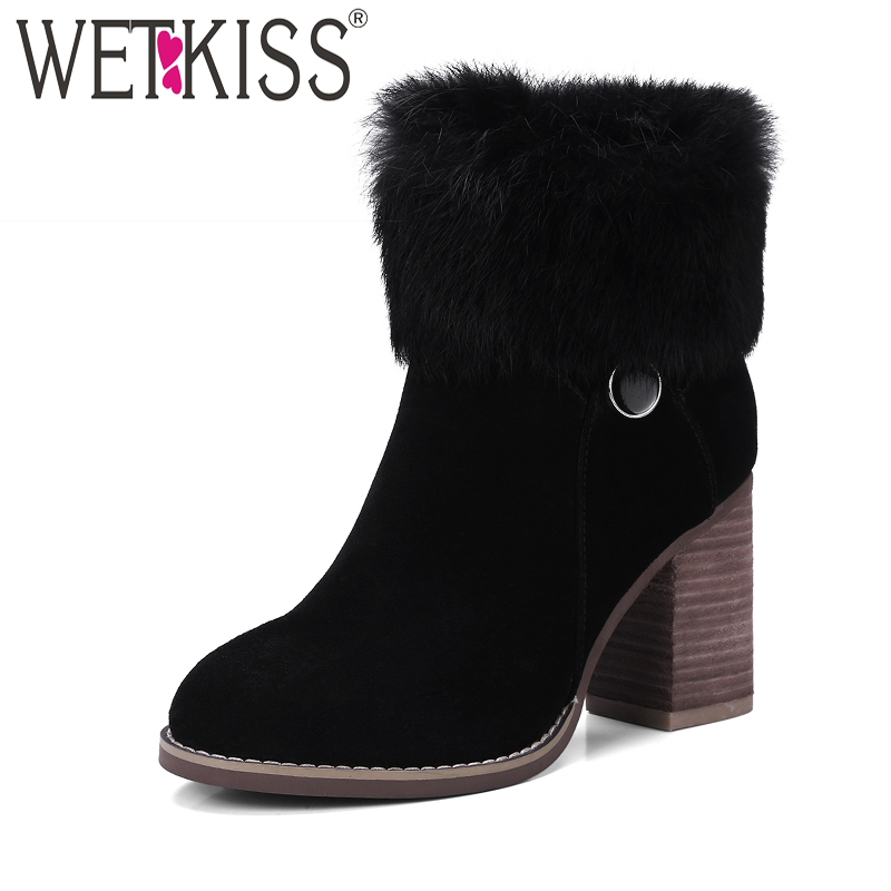 WETKISS Sexy Super High Square Heel Ankle Boots Soft Warm Fur Winter Boots 2018 New Side Zipper Ladies Shoes Woman Rubber Sole newborn kids high prewalker soft sole cotton ankle boots crib shoes sneaker first walkers
