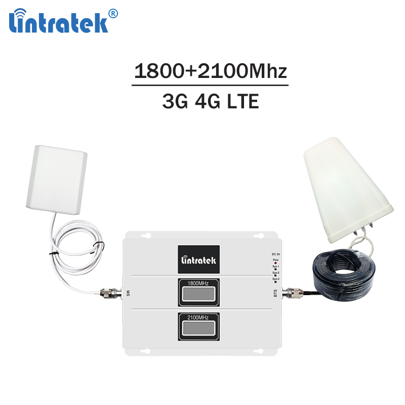 Lintratek Signal Repeater 1800 2100 3G 4G Booster LTE 1800Mhz Repeater 3G 2100Mhz Signal Amplifier Dual Band DCS WCDMA #8Lintratek Signal Repeater 1800 2100 3G 4G Booster LTE 1800Mhz Repeater 3G 2100Mhz Signal Amplifier Dual Band DCS WCDMA #8