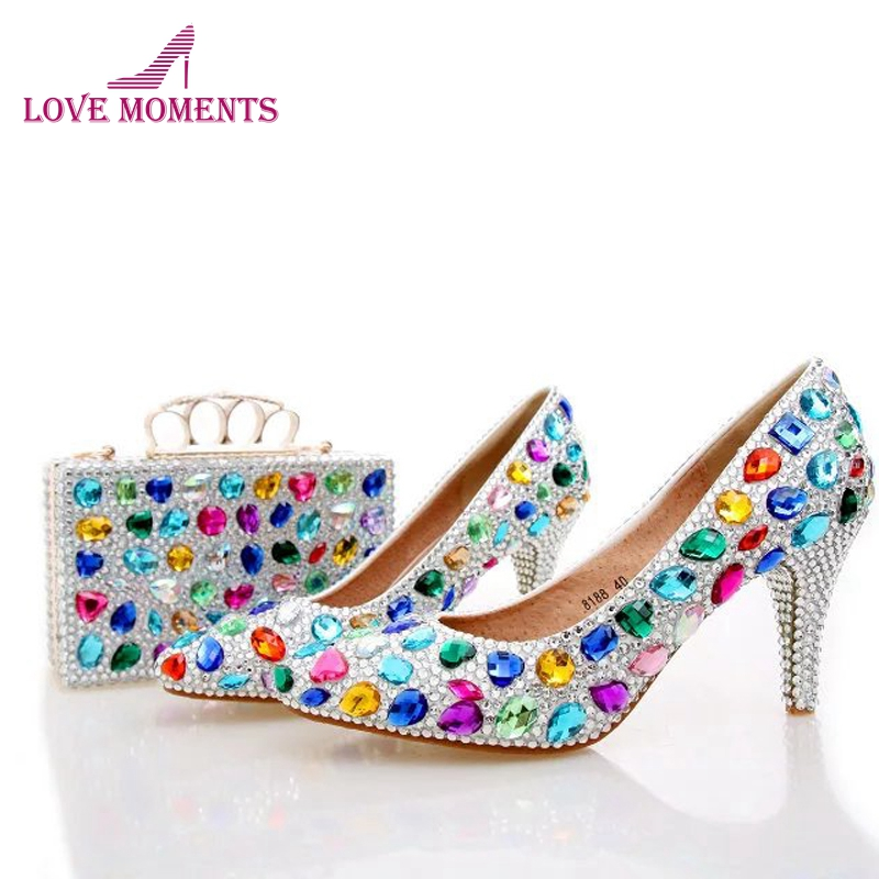 2018 New Designer Mix Color Crystal Wedding Shoes with Matching Bag 3 Inches Kitten Heel Matric Graduate Farewell Ceremony Pumps