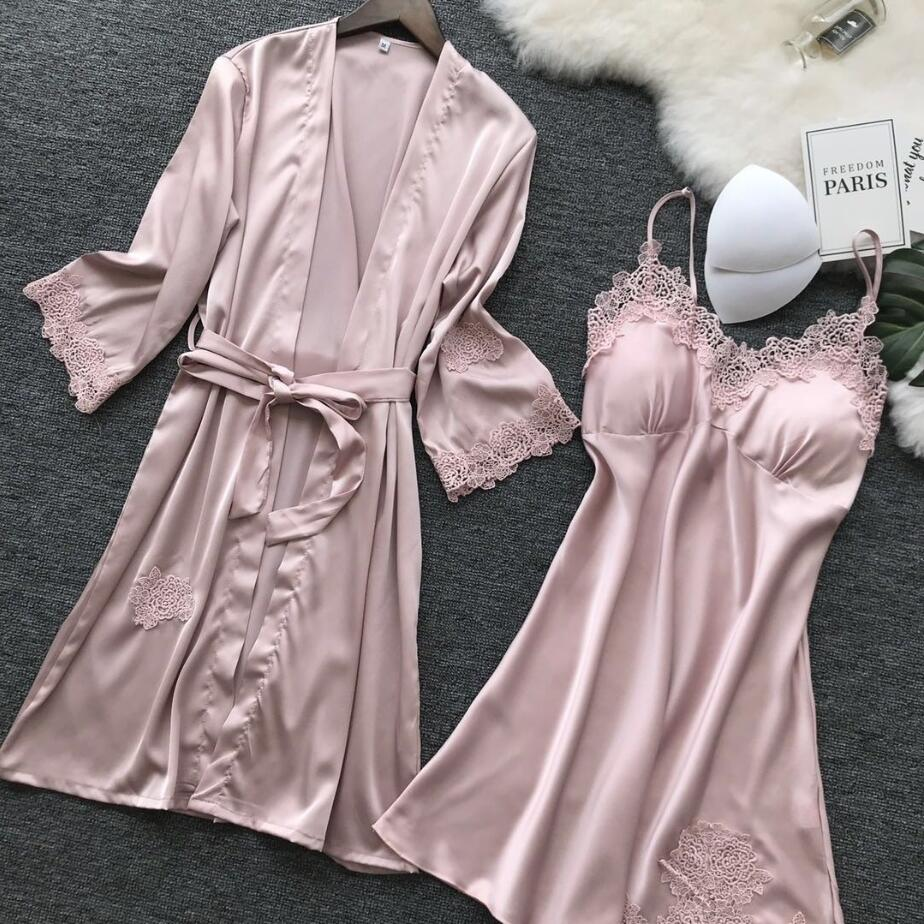 Embroidery Lace Home Wear Women Nightgown Robe Sets Bathrobe With Chest Pad Female Satin Kimono Gown Sleepwear Robes Suit 966