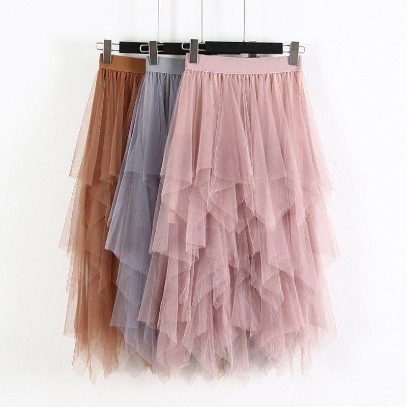 Fashion Elastic High Waist Long Tulle Skirt Women Irregular Hem Mesh Tutu Skirt 2019 Spring Party Skirt Ladies