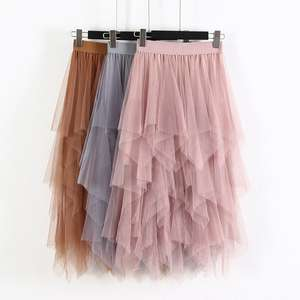Tulle Skirt Mesh Irregular Elastic Long High-Waist Fashion Women Ladies Spring Hem