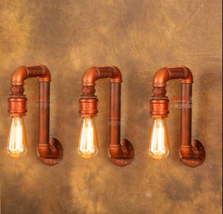 American Village Loft Industrial Edison Style Vintage Wall Light Lamp, Retro Water Pipe Lamp Wall Sconce Free Shipping 1 heads american industrial vintage loft style creative personality iron water pipe restaurant retro wall lamp free shipping