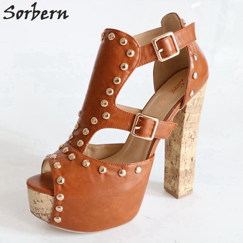 15a65f3f26054 Sorbern Platform Brown Chunky Heels Women Sandal Open Toe High Heels Shoes  For Ladies Plus Size 15 Shoes Women Summer Style