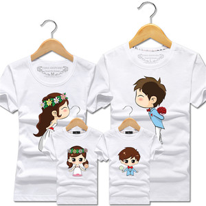 Летние одинаковые комплекты одежды для всей семьи, футболка с героями мультфильмов, невеста и жених, одежда для папы, мамы и детей, хлопковые...