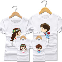 2018 Summer Matching Clothes Family Look T Shirt Cartoon Bride Bridegroom Father Mother