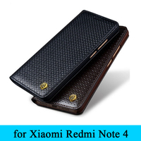 High Quality Custom 100 Genuine Leather Case Phone Cover For Xiaomi Redmi Note4 Grass Pattern Protector