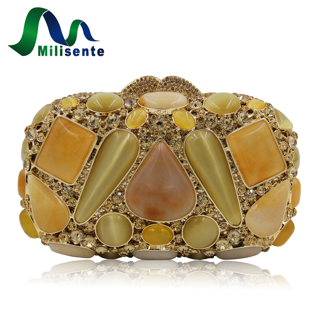 milisente women designer agate crystal box evening bags party handbags ladies wedding purse lady. Black Bedroom Furniture Sets. Home Design Ideas