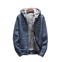 Adisputent Autumn Winter Long Sleeve Hooded knitted Sweater Cardigan Male Thick High Quality Keep Warm Fur Sweater Coats