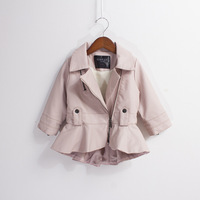 Autumn Winter Girl Coat PU Leather Turn Down Solid Red Black Pink Long Sleeve Zipper Jacket