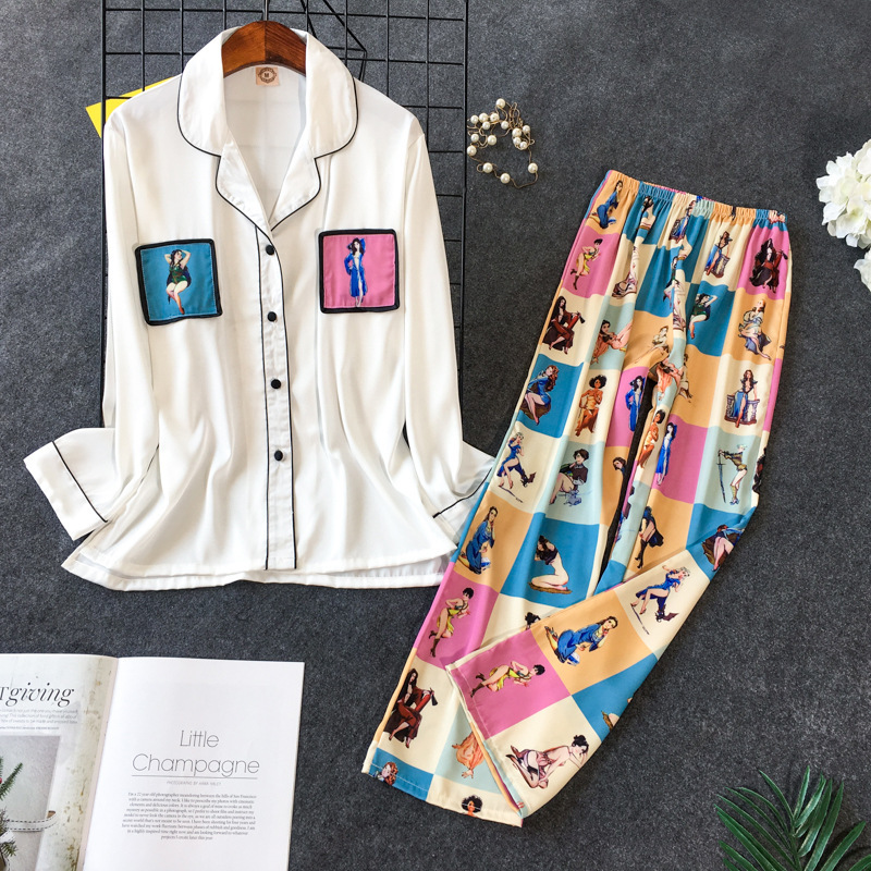 2019 New Printing Pajama Set Woman Korean Sweet Lovely Rayon Long Sleeve Trousers Twinset Pijama 40