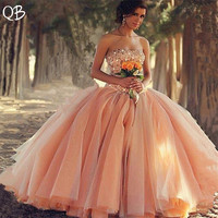 Custom Made Wedding Dresses 2019 Ball Gown Fluffy Beading Diamond Appliques Luxury Elegant Wedding Gowns Plus Size ZF08