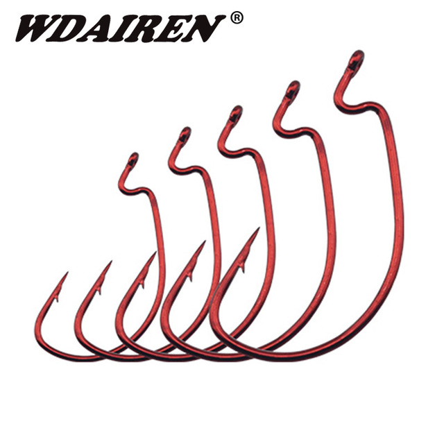 20Pcs/lot Red Offset Worm Hook for Bass Fishing Plastic Worm Taxas Rig Fishhook Wholesale Bait Hooks Fishing tackle accessories