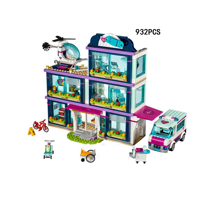 Hot my good friends girls club city Heartlake hospital building block figures Ambulance casualty helicopter bricks 41318 toys
