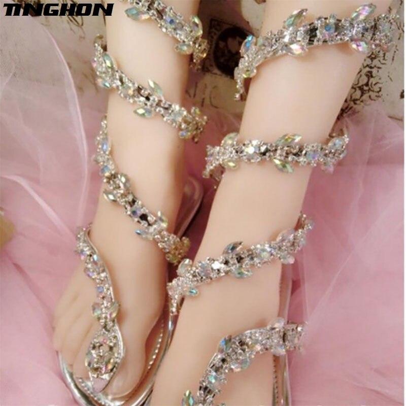 סנדלים שטוחים נשים סנדלי גלדיאטור קיץ מפואר נחש פאנק ריינסטון סנדלי נשים העקב שטוח נעלי מסיבת חתונה
