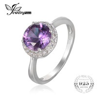 JewelryPalace Top Round 2 97ct Created Alexandrite Sapphire Engagement Ring For Women 925 Sterling Silver Fashion