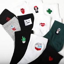 Funny Korean Women Girls Cute Cotton Crew Socks short Lip Girl Plant Pattern Harajuku Novelty Ankle Female Sox Woman White