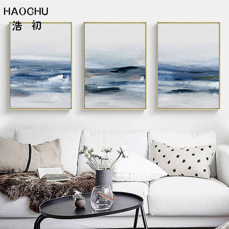 HAOCHU Blue Abstract Sea Black Line Art Poster Home Wall Decor Picture Modern Simplicity Abstract Art Picture Canvas Painting