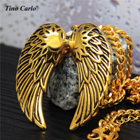 4cm Big Angel Wings Feather Charm Necklace 18K Gold Plated Angel Wing Faith Jewelry Memorial For