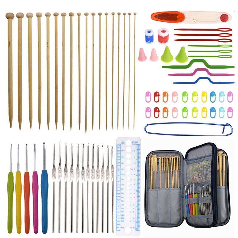 11 Pcs 2mm-8mm KOKNIT Crochet Knitting Tools Aluminum Tunisian Hooks Set with Case and Sewing Accessories For Mom