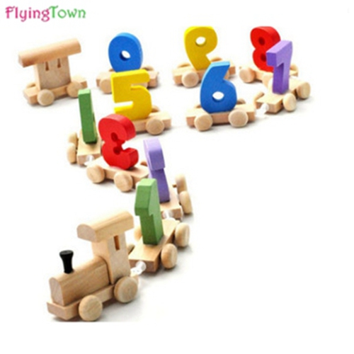FlyingTown Mini Wood Train Toy Great Digital Number Wooden Train Figures Railway Kids Educational Toy Model Building Kits Toys