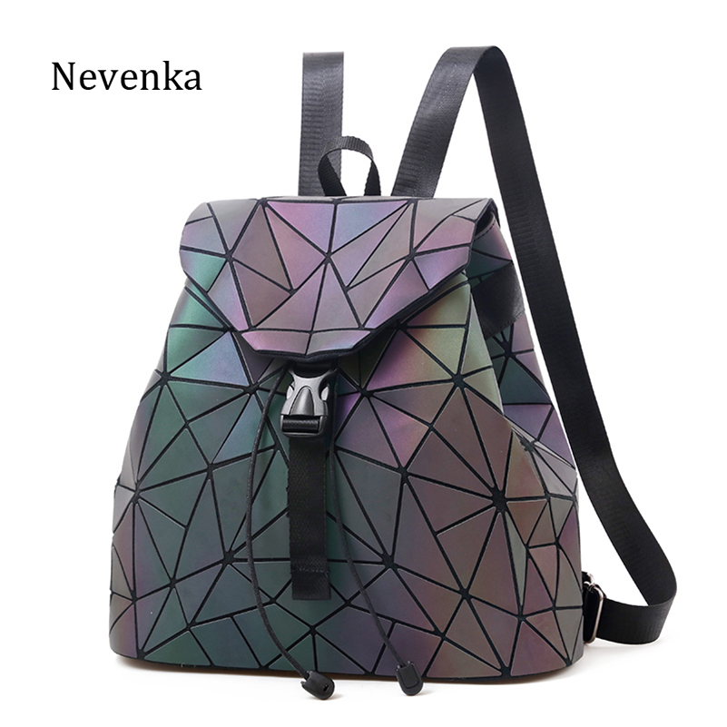 Mochila luminosa Nevenka de cuero para mujer mochilas geométricas con lazo de diamante mochilas holográfica mochila monedero 2018