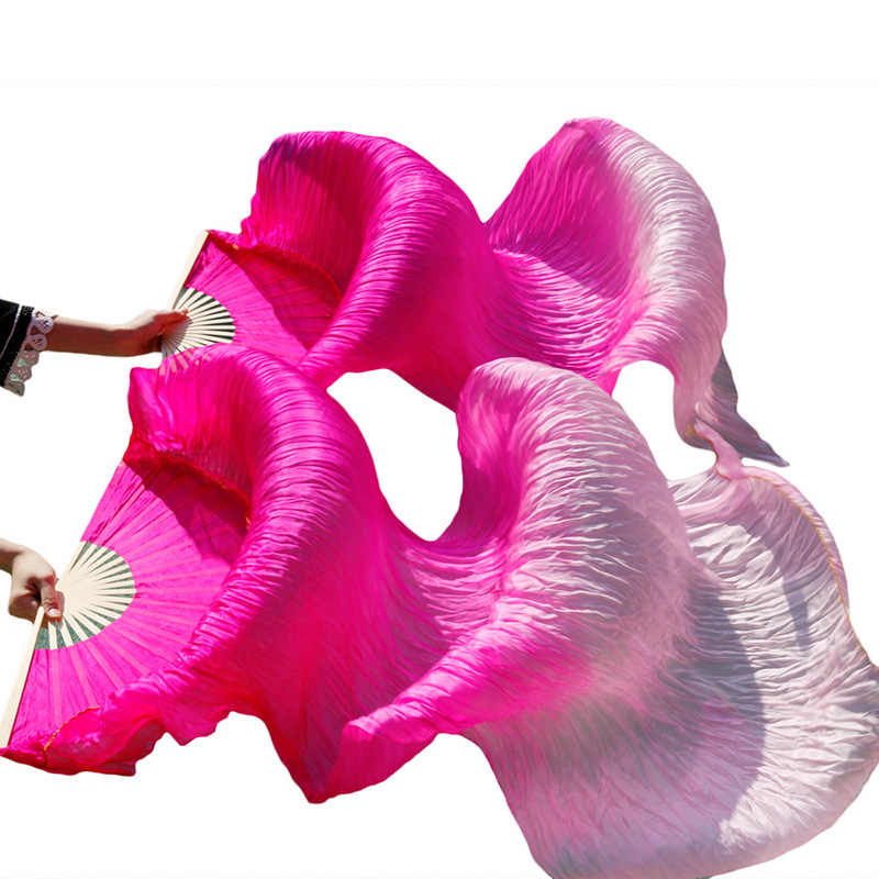 القادمون الجدد مرحلة أداء الرقص المشجعين 100% الحرير الحجاب الملونة النساء الرقص الشرقي مروحة الحجاب (2 قطعة) الفوشيه + ضوء الفوشيه + الوردي