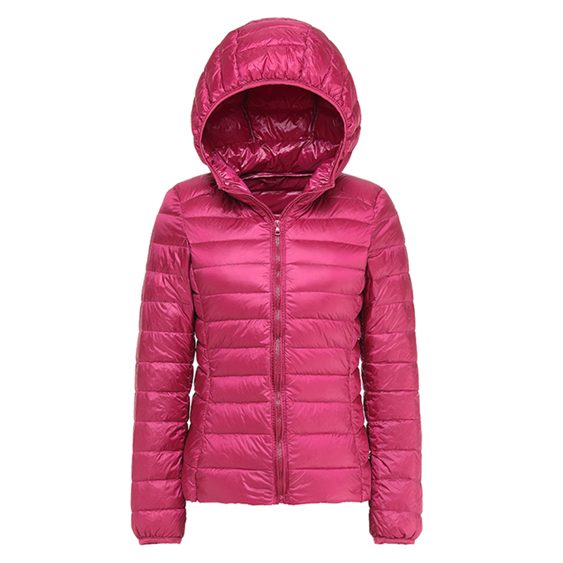 White Duck   Down   Warm Jackets Autumn Winter Womens Hooded Fashion   Coat   Lightweight Female Slim Casual Plus Size   down     Coats   QH1257
