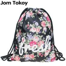 2019 new fashion Women drawstring Backpack 3D printing travel softback