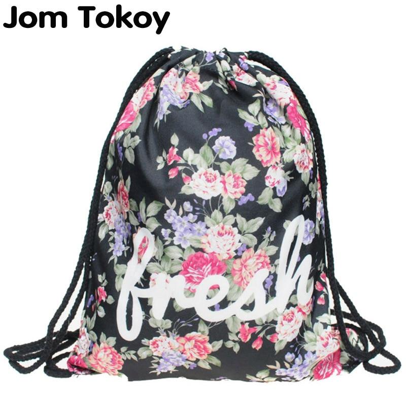 New Fashion Women Drawstring Backpack 3D Printing Travel Softback Women Mochila Drawstring Bag