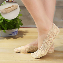 1 Pair Summer Sweet Women Lace Slim The Silicone Antiskid Invisible Liner Low Cut Sock Slippers Shallow Boat Socks for Women