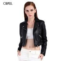 ORMELL Fashion Women PU Leather Bomber Jacket 2017 Autumn Black Female Slim Short Coat Ladies Zippers