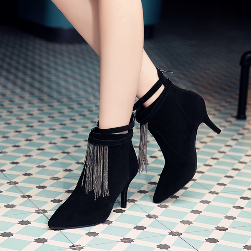 ФОТО Super Stylish Women Ankle Boots Fashion Chains Pointed Toe Spike Heels Boots Nice Black Blue Brown Shoes Woman US Size 3.5-10.5