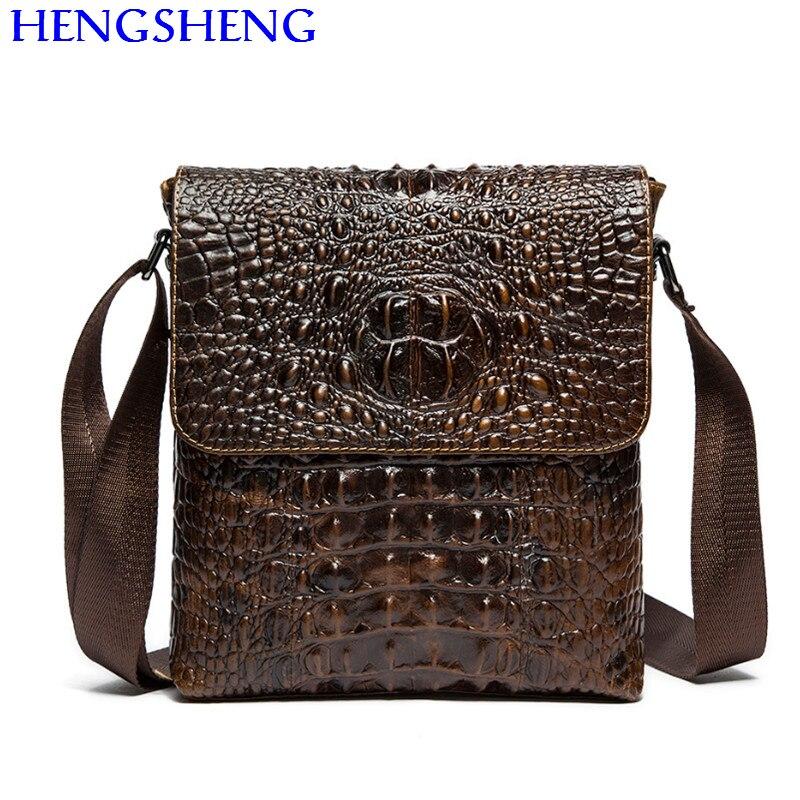 Hengsheng hot selling genuine font b leather b font crocodile men shoulder bag with fashion cow
