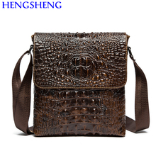 Hengsheng hot selling genuine leather crocodile men shoulder bag with fashion cow leather businss men messenger bags