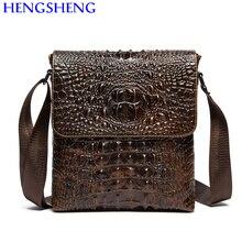 Hengsheng hot selling genuine leather crocodile men shoulder bag with fashion cow leather businss men messenger