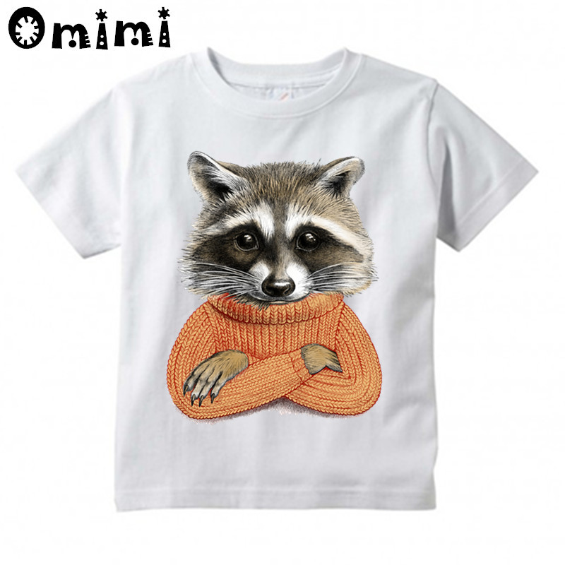 Kids Raccoon In Winter Sweater Design T Shirt Boys/Girls Casual Tops Childrens Summer White Cute T-Shirt